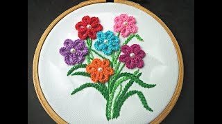 Baixar Hand Embroidery - Cast On Stitch Flower Embroidery Design - Brazilian Embroidery For Beginners