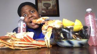 King crab legs w/BLOVES SAUCE SEAFOOD BOIL MUKBANG