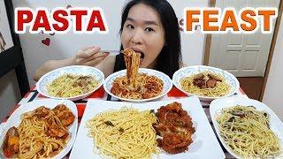 PASTA! Creamy Carbonara, Seafood Aglio Olio Spaghetti, Fried Chicken Linguine | Eating Show Mukbang