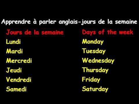 Bien-aimé Apprendre à prononcer les jours de la semaine en anglais - YouTube DD23