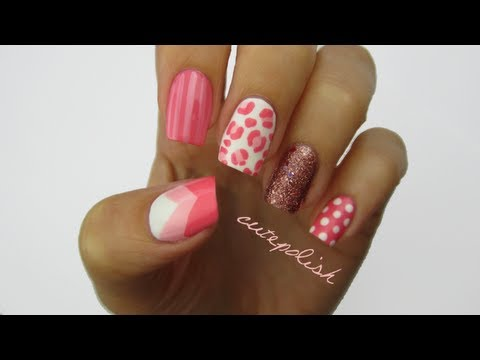 Nail art pretty in pink youtube nail art pretty in pink prinsesfo Image collections