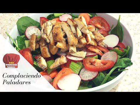 ENSALADA de Pollo con Espinacas receta saludable   spinach chicken salad -Complaciendo Paladares