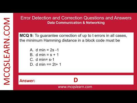 Error Detection and Correction Questions and Answers - MCQsLearn Free Videos