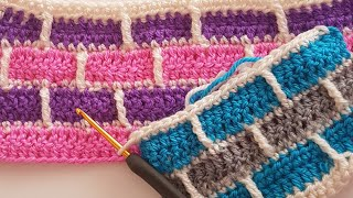 Tuğla Desen Battaniye/ How to Crochet Brick Pattern
