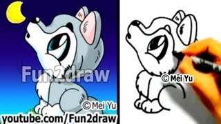How to Draw a Cartoon Wolf - Draw Animals Cute Art - Fun2draw
