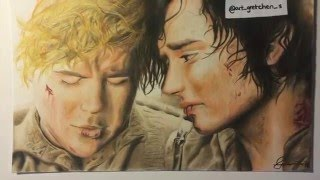 Frodo and Sam Lord of the Rings drawing by Gretchen Sant