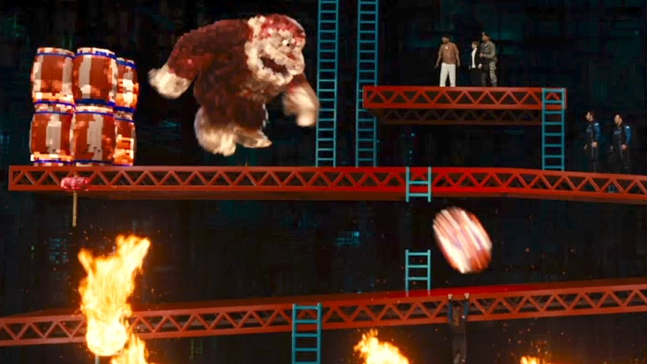 Donkey Kong Attacks Pixels Movie Clip Youtube