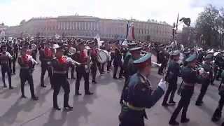 9 мая 2015 Парад Победы на Дворцовой площади Санкт-Петербург Питер Спб оркестр FullHD