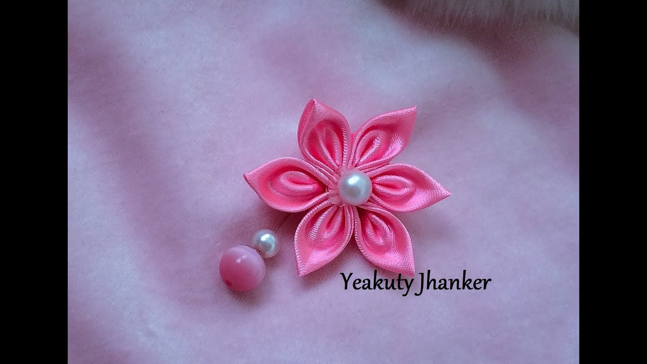 DIY How to make Kanzashi ribbon flower brooch hijab