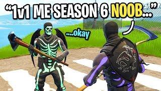 Season 6 Skull Trooper CALLS OUT Season 1 Skull Trooper to 1v1 in Fortnite playground...