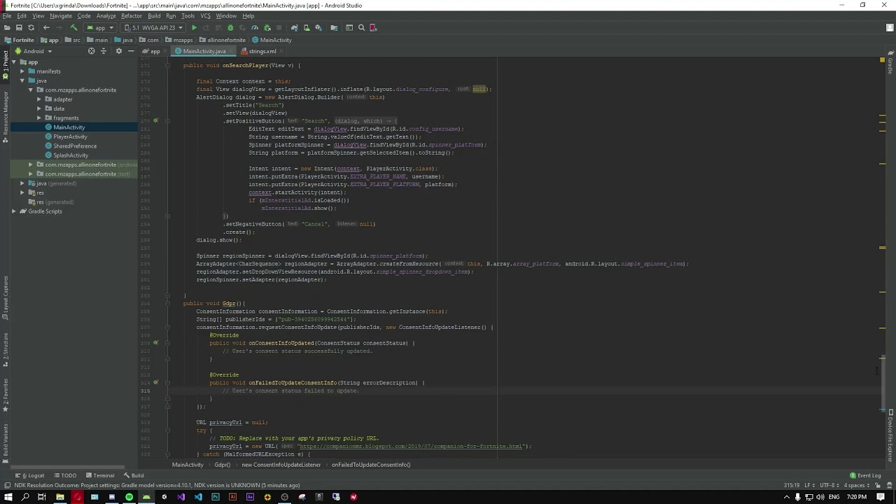 Fortnite Config File On Android Fortnite Battle Royale Helpful Tools With Gdpr Code Source Android Studio Youtube