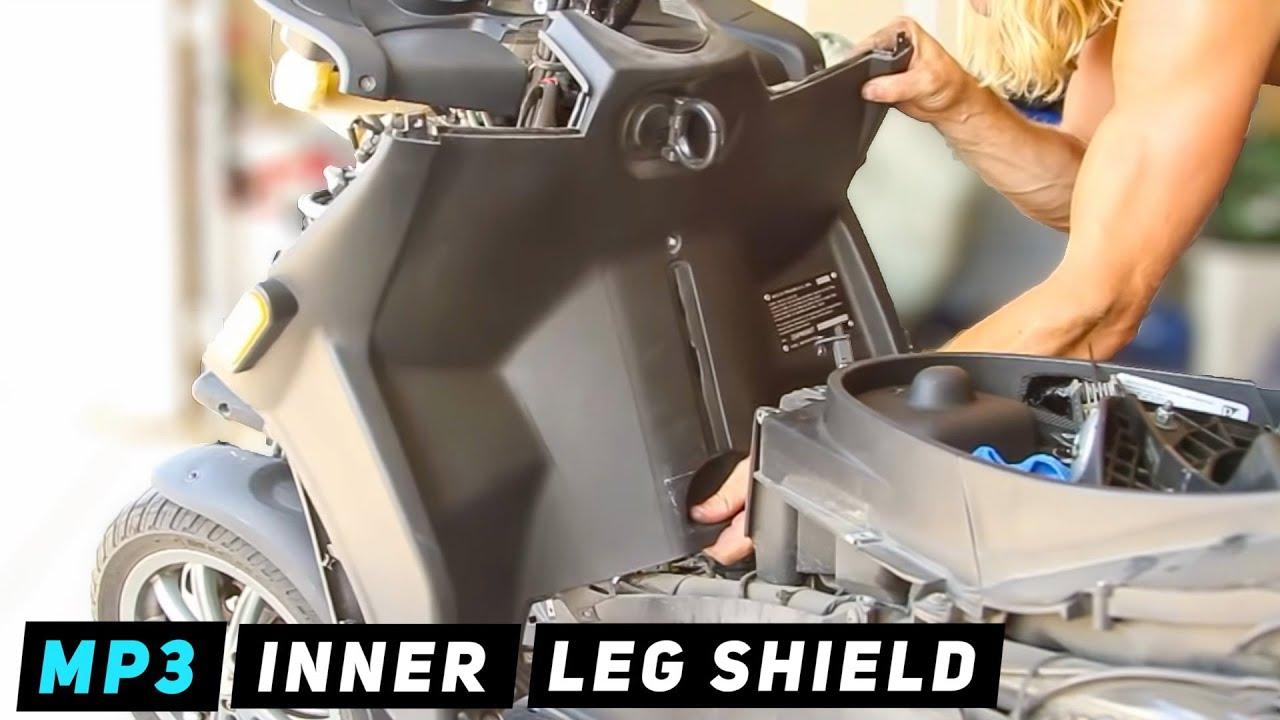 piaggio mp3 - inner front leg shield removal - youtube