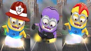 Despicable Me 2 Minion Rush Purple Evil Minion vs Starfish Minion & Firefighter Minion Funny Minions