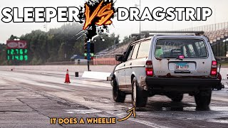 homepage tile video photo for WHEELIES, MONEY SHIFTS, and Runs DEEP Into the 11's - 700HP Sleeper Hits the Dragstrip!