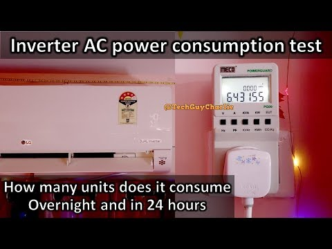 How many units of Kwh does Inverter AC consume overnight and in 24 hours how do Inverter AC's work