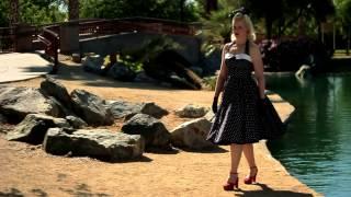 1950s style black and white polka dot swing dress