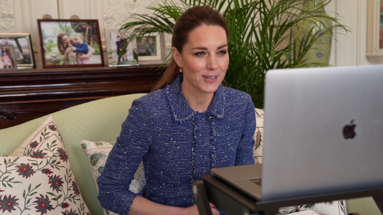 The Duchess of Cambridge talks to teachers during Children's Mental Health Week
