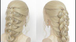 Легкая прическа с плетением на длинные волосы
