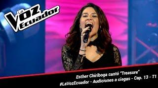 """Esther Chiriboga cantó """"Treasure"""" - La Voz Ecuador - Audiciones a ciegas - Cap. 13 - T1"""