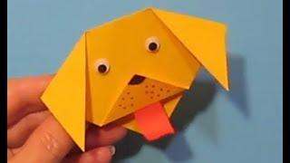 СОБАЧКА Легкое Оригами для Детей Своими Руками. Открытка-Закладка Поделки из бумаги