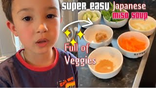 Miso soup. Easy Japanese vegetable soup.cooking with kids