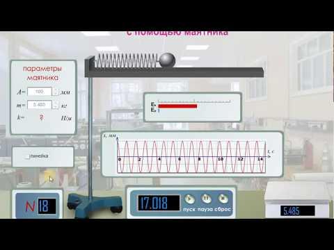 """Виртуальные лабораторные работы по физике """"Определение жесткости пружины с помощью маятника"""""""