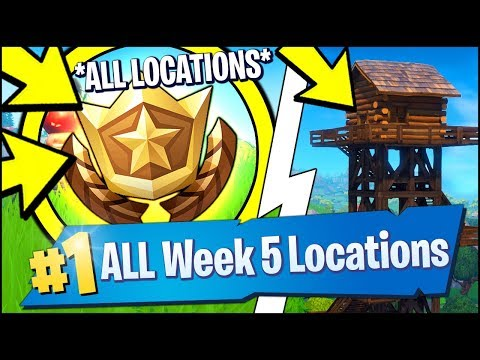 *ALL* Fortnite WEEK 5 CHALLENGE LOCATIONS | Search Between A Giant Rock Man, Water Tower (Season 7)