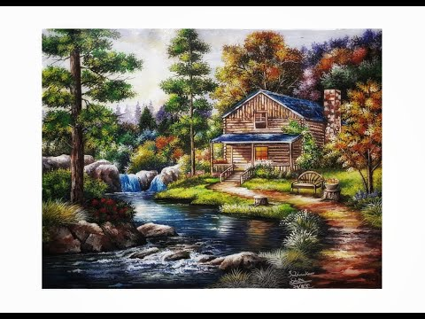 Beautiful scenery painting with poster colors//Time lapse painting video