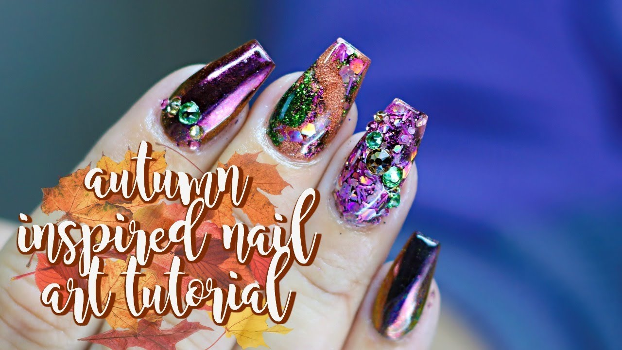 FALL / AUTUMN THEMED ACRYLIC NAIL TUTORIAL AND FULL COLOR CHANGE ...