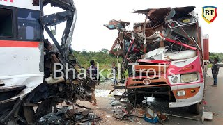 Bhatkal: Serial accident between 2 Buses and 1 Truck, Sodigadde