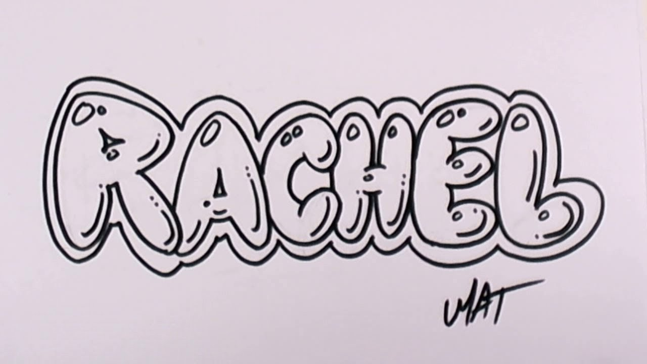 graffiti writing rachel name design 46 in 50 names promotion mat