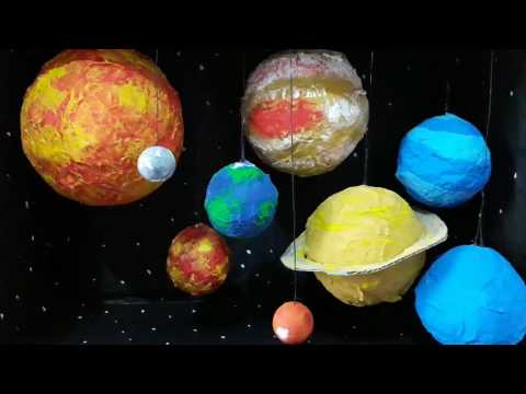 solar system project made by paper mache