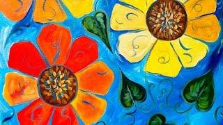 Beginners acrylic tutorial   flowers