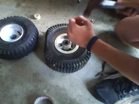 how to change a tubeless tire lawn mower