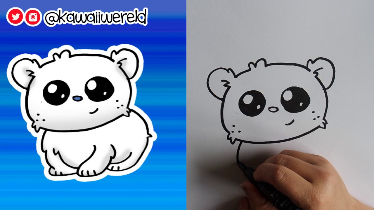 How To Draw A Baby Polar Bear Cute Easy Youtube