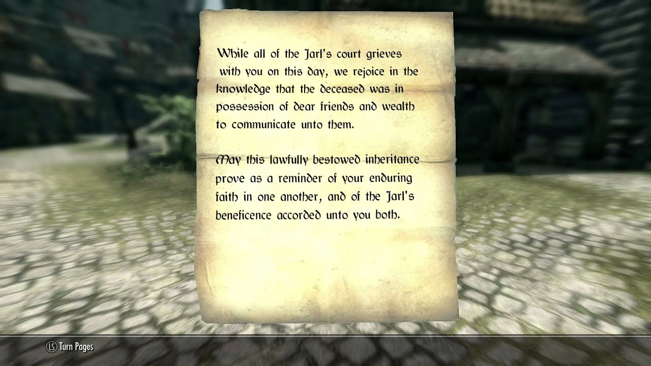 what is letter of inheritence skyrim