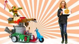 Nicole und die Ninja Turtles machen Pizza aus Knete. Kinderfilm auf Deutsch