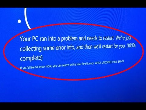 whea uncorrectable error windows 10 install