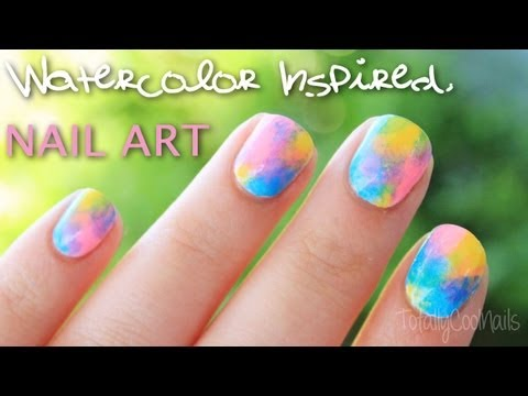 Very Easy Watercolor Inspired Nail Art Totallycoolnails Youtube