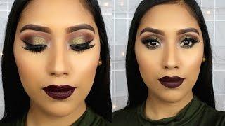 Maquillaje para Otoño | Sombra Verde y Labios Oscuros Usando Paleta morphe 35O