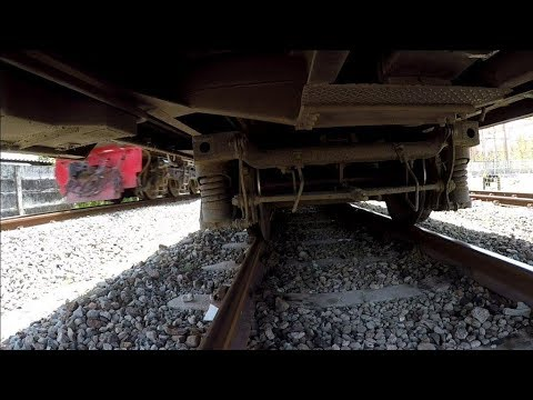 Go Pro camera mounted underneath train moving at 100kmh
