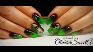 Nail art tutorial - Butterfly Effect (Painting with gel polishes : OMBRE, GIRL and BUTTERFLIES)
