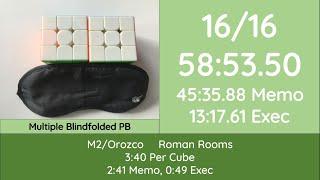 16/16 Rubik's Cube Solved Blindfolded! 58:53 [45:35]