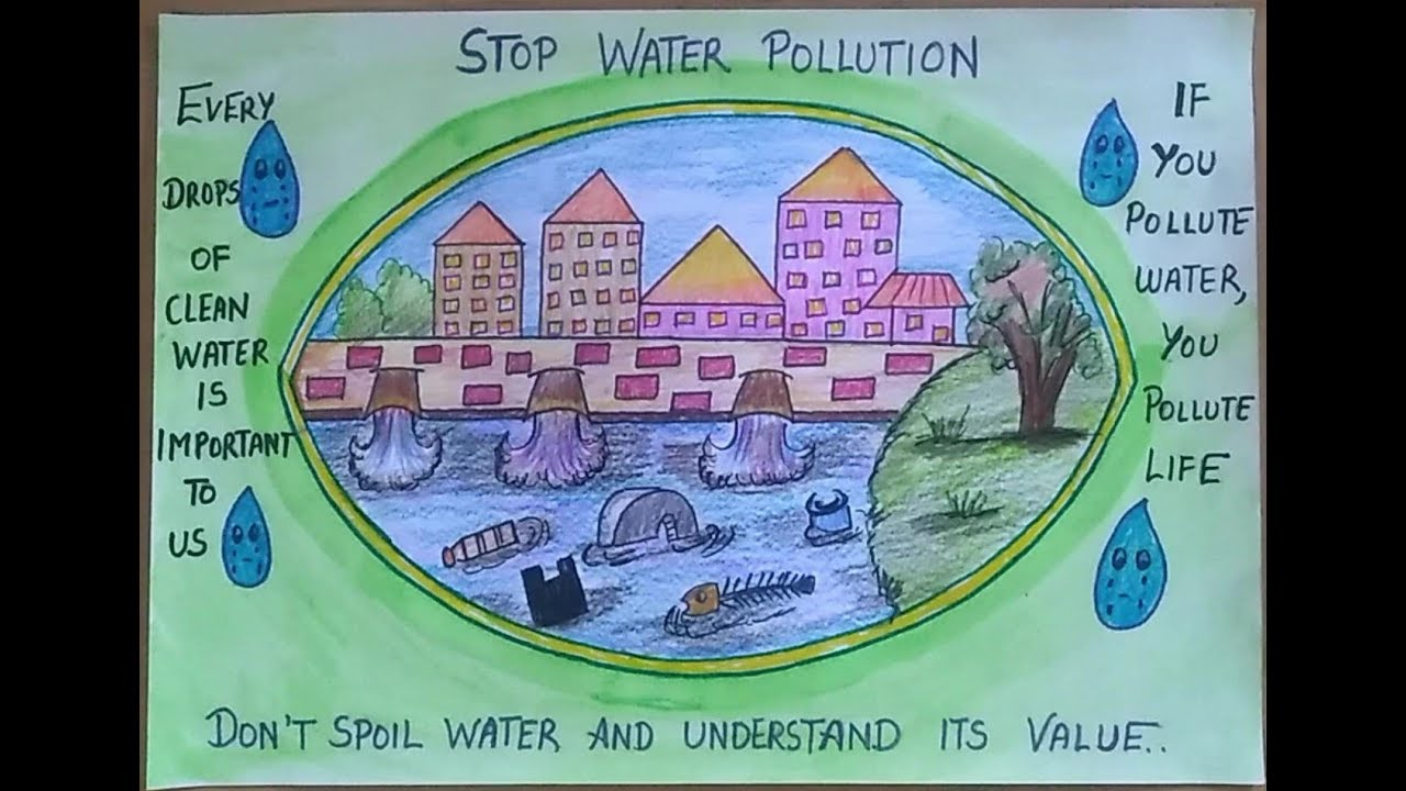 how to draw scenery of water pollution ll poster on water pollution