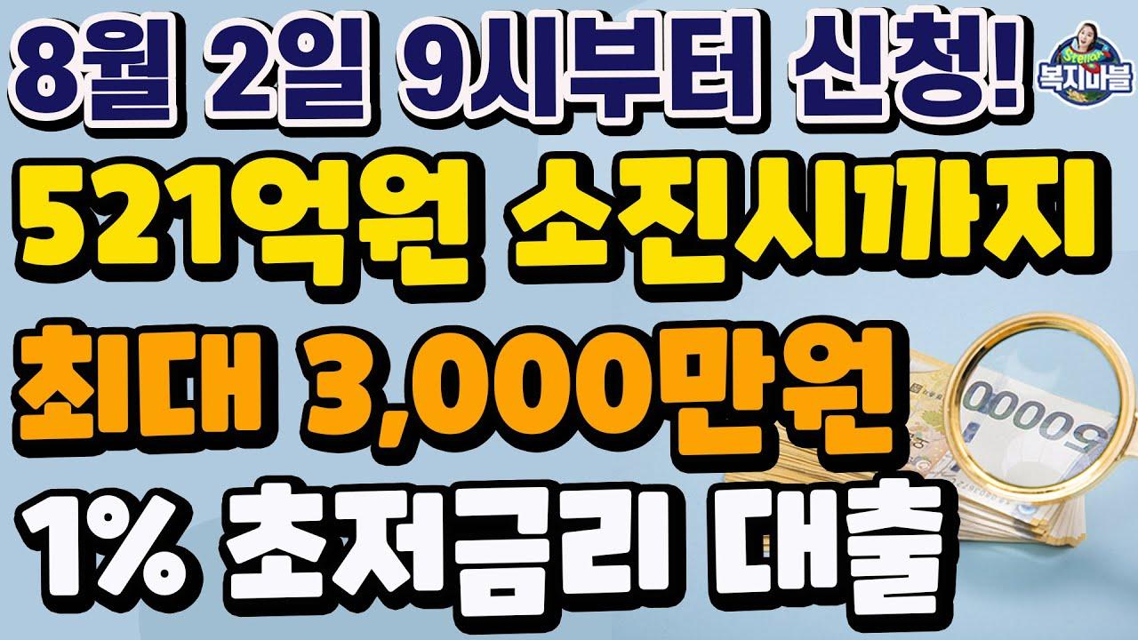 선착순 7,000명! 최대 3,000만원! 1% 초저금리 대출! 8월2일 오전 9시부터 신청 시작합니다~