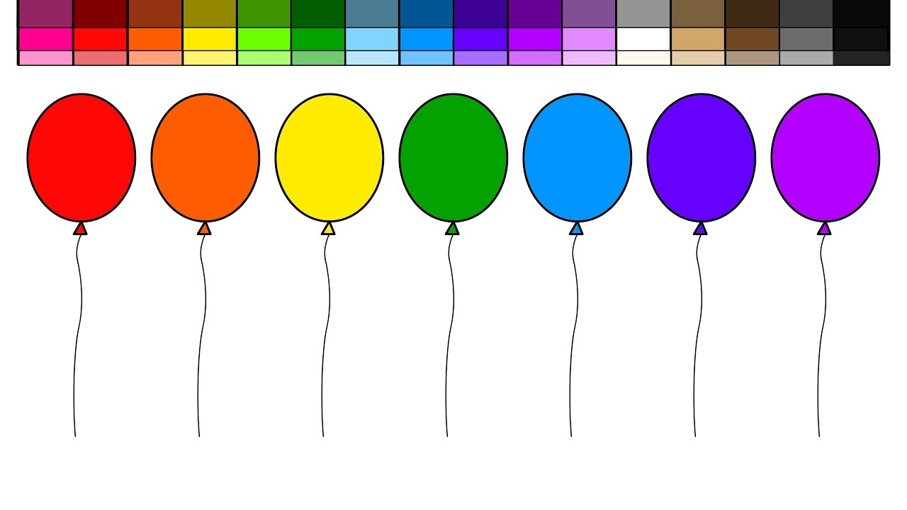 learn to color for kids and color rainbow balloons coloring pages