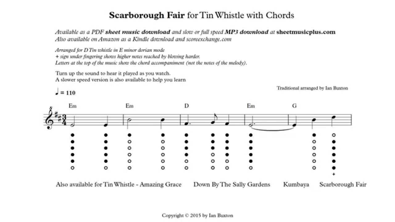 Scarborough Fair on Tin Whistle with chords arranged by Ian Buxton - YouTube