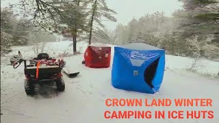Winter Camping In Aฑ Ice Fishing Tent - Sight Fishing For Early Ice Brook Trout - Bancroft Ontario