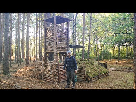 Bushcraft Camp Update 12 - Wood Roof Kitchen, Overnight Camp & Perimeter Wall Expansion