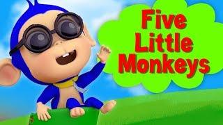 Cinco Pequenos Macacos   Rimas De Berçário   Five Little Monkeys   Kids Songs   Farmees Português